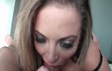 Latina bitch sucks a cock and shoves it in her pussy