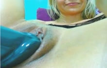 Blonde slut toys her pussy for you