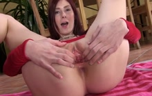 Redhead slut with toys in her pink gaping pussy