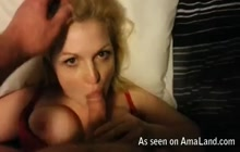 Hot wife sucks my cock close up